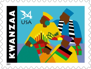 U.S. Postal Service 2001 commemorative Kwanzaa Stamp.
