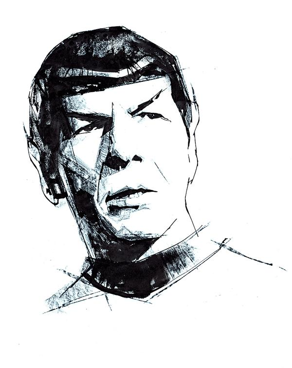 Leonard Nimoy, as the indelible Mr. Spock, in Star Trek.