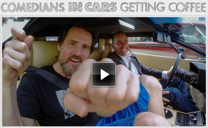 Jerry Seinfeld and Jim Carrey in Seinfeld's new show Comedians in Cars Getting Coffee.